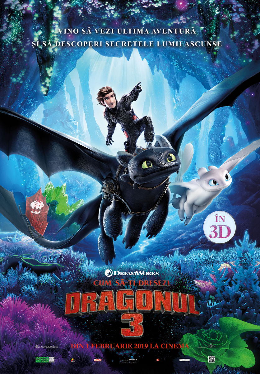 Afis 3D Cum să-ți dresezi dragonul 3 - dublat HU (How to Train Your Dragon: The Hidden World)